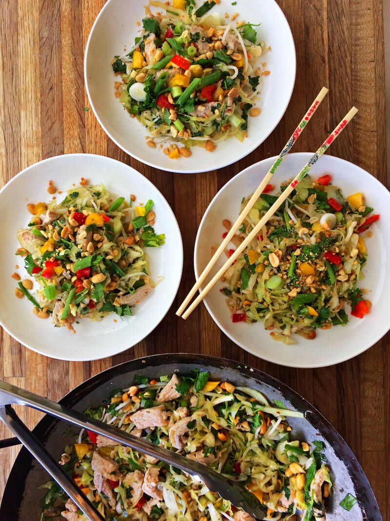 Keto pad thai recipe. Make pork pad thai on the ketogenic diet.