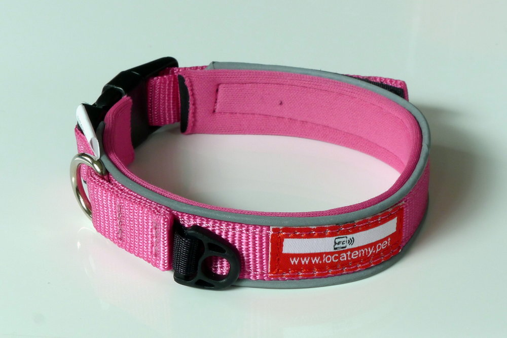 The limited edition pink Locatemy.pet collar with integrated NFC