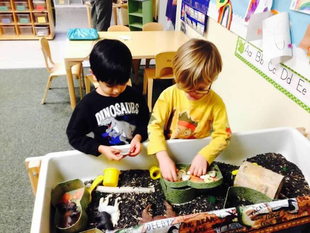 Each week a new tactile experience is to be found at the sensory table.