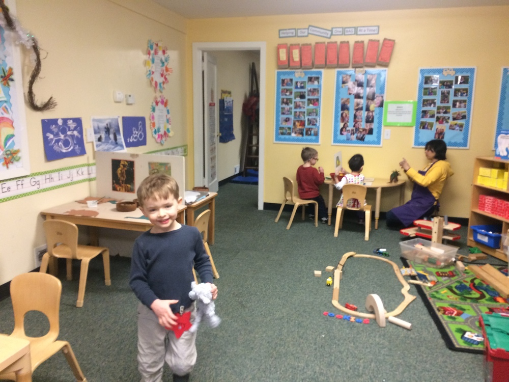 Our classroom is set up differently every week with a variety of activity and art stations.