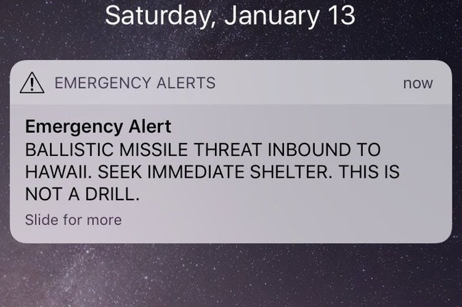 The emergency alert which circulated around Hawaii.