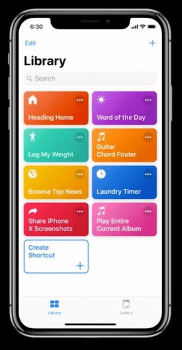 Apple's new Shortcuts app featuring custom commands.