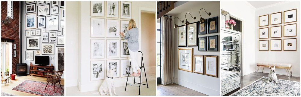 I'm drawn to more contemporary wall galleries.  Note, I did not take these pictures, they are taken from Pinterest.