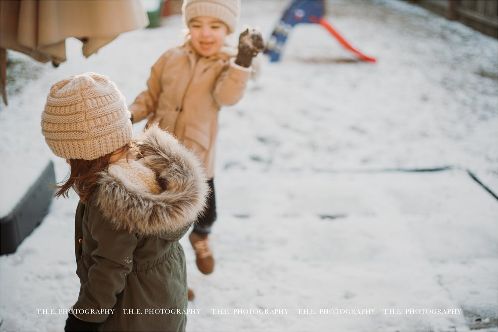 week seven - 1/17/18Second snow of the season in Baton Rouge made for a great day of play. Someone is the target of her sister's snowball.