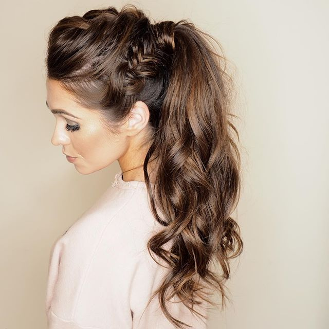 When you spend an afternoon playing hair and make-up with your bestie @becca_official 😍  #braids #plaits #ponytail #hairup #ghd #ghdclassiccurl #microring #hairextensions #glam #instaglam #surreystylist #surrey #hairstyles #cljmakeup