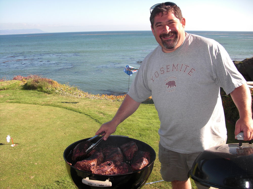 Pit Master Brian Stein grilling up some tri tip for the family in Cayucos, California
