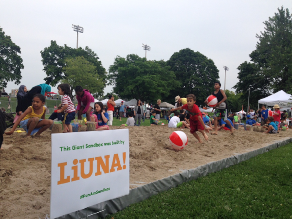 The 2015 Pan Am Parapan Am Sandbox in Toronto, donated and built by LiUNA Local 183.