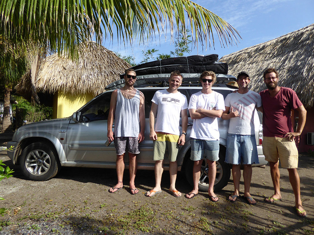 Our group on departure from El Paredon. From left to right - Mitch, Surf Guide Mike, Jack, Kinder and Charlie