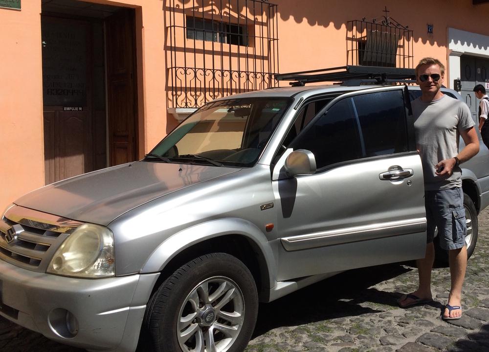Mike with the surf tour vehicle - Antigua, Guatamala
