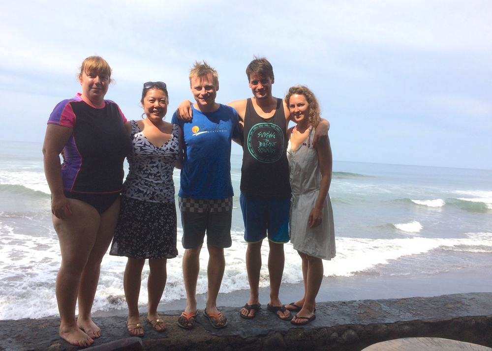 Mike with a learn-to-surf group, El Salvador