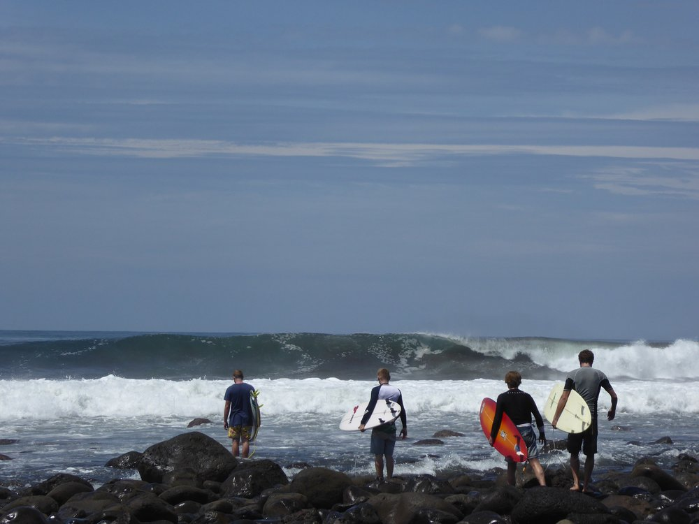 Mike and group of surfers - Punta Roca, El Salvador