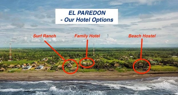 El Paredon from the air. We offer 3 great accommodation option all located right on the beach and within a minute of each other.