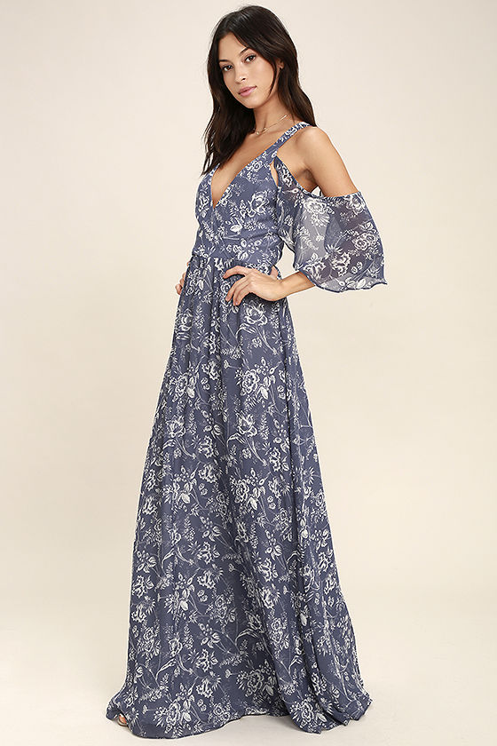Good-Hearted Denim Blue Floral Print Maxi Dress  I love the dainty, feminine sleeves of this dress!