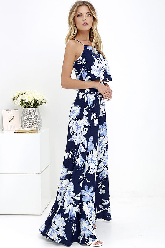 Love for Lanai Navy Blue Floral Print Two-Piece Maxi Dress This two-piece is perfect for a date night or wedding!