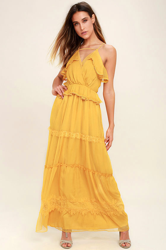 Adelyn Rae I Know Your Secret Golden Yellow Lace Maxi Dress Obsessed with this yellow! Making me crave Spring even more!