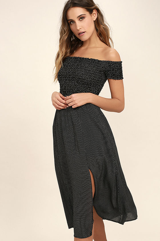 Late Nights Black and White Polka Dot Off-The-Shoulder Dress Thinking I'm going to order this dress, I love the 90's vibe of this!