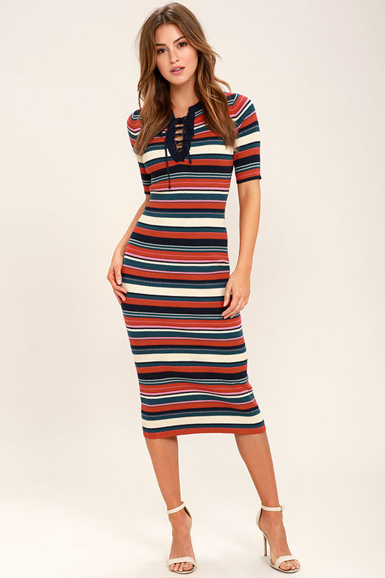 Can You Dig It Navy Blue Striped Bodycon Midi Dress This is my favorite dress, the colors are tropical and fun, and the fit is gorgeous!