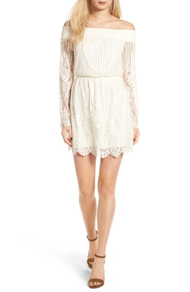 Trixxi Stripe Lace Off the Shoulder Dress Off the shoulder is so in style right now.