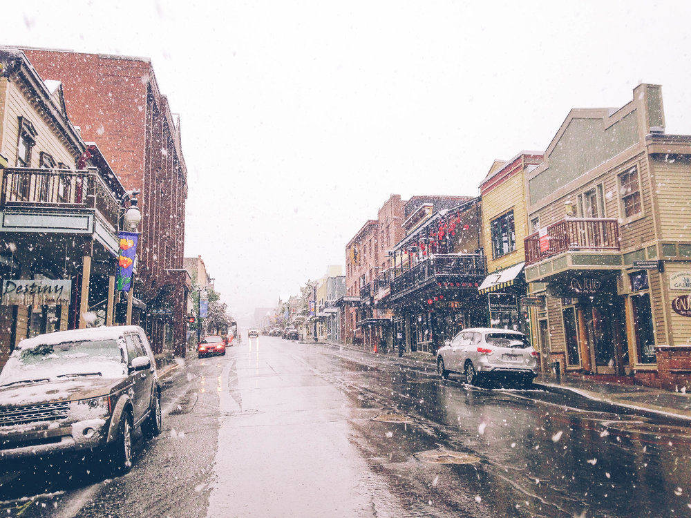 This was taken in Park City on Main street.... in JUNE! I remember being so excited it was snowing in the middle of summer. I used to work at a cute boutique called Olive and Tweed on Main st.