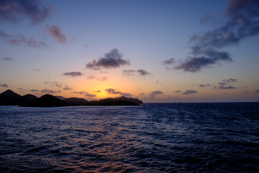 Sunset with peaks of Tortola