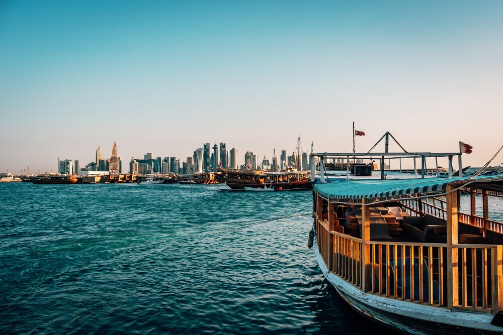 Doha Skyline with traditional boat.