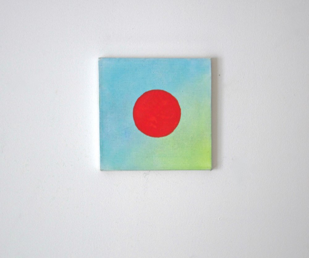 The Red Dot,  2013 Chalk and acryllic on canvas 8 x 8 inches