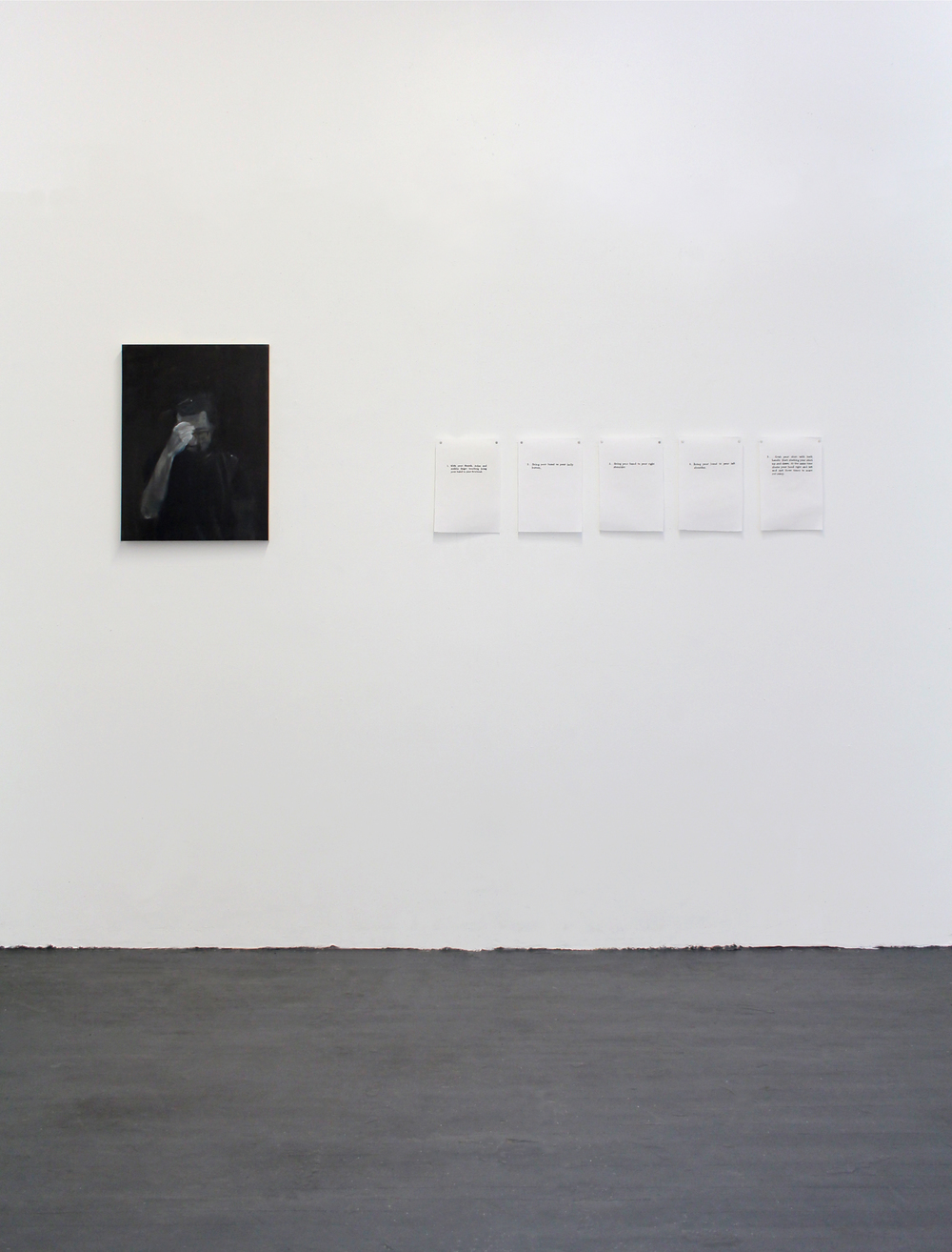 Instructions for Greeks in Case of Emergency , 2015, Oil on wood panel, Embroidery on linen, Dimensions variable, Installation view