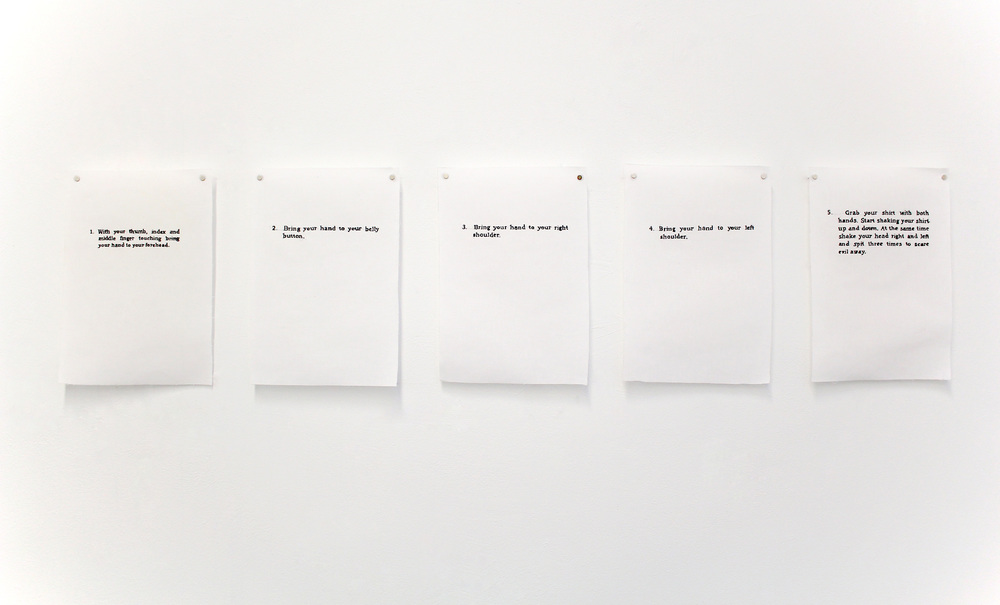 Instructions for Greeks in Case of Emergency , 2015, Cotton thread on linen, Dimensions variable, Installation detail