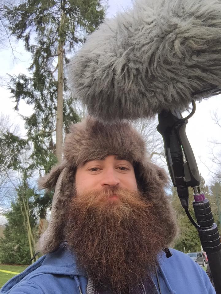 Recording production sound for a student project as a Boom Operator. Yes, the hat does indeed match the boom pole fuzzy!