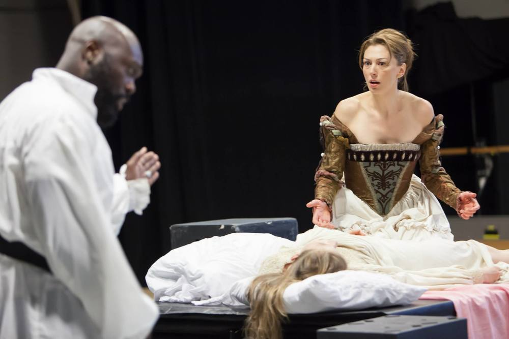 Emilia (Vanessa Morosco) and Othello (Peter Macon)