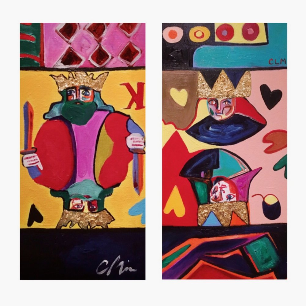 "Mad Royals - Cynthia Leigh Miller10""x20"" each, Gold leaf and heavy-body acrylic on canvasSOLD - $175 for pair2019"
