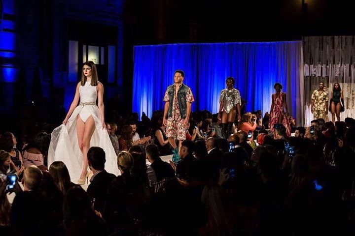 Models wearing Travis Cal Styles Spring 2018 during Kansas City Fashion Week at Union Station