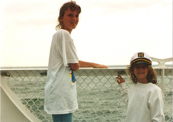 Image: Sisters at Sea, circa 1993 (Renee on the right). Photo by Paula Long.