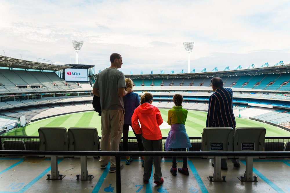 On a tour of the 10th largest stadium in the world......the Melbourne Cricket Grounds (MCG). This uniquely built and designed stadium can hold 101,000 fans when full for championship Aussie Rules Football and Cricket matches. We learned a lot about the international game of cricket. It is a game for those with much patience, as matches can take up to 5 or 6 days to complete.