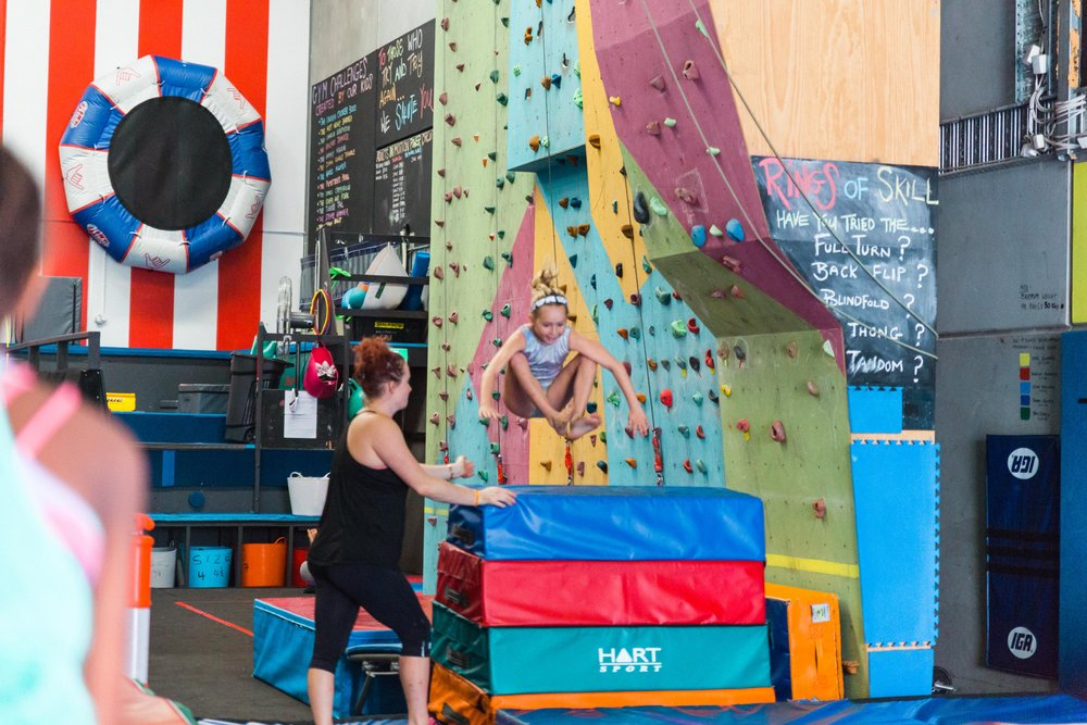 During our 10 day stay in Melbourne, Australia, the girls were able to take a few gymnastics classes from the amazing team at Kids in Motion. Rock wall climbing, trampoline, and plenty of leaps and jumps kept them entertained. Here, Shae shows off her jumping ability, clearing the hurdle with ease.