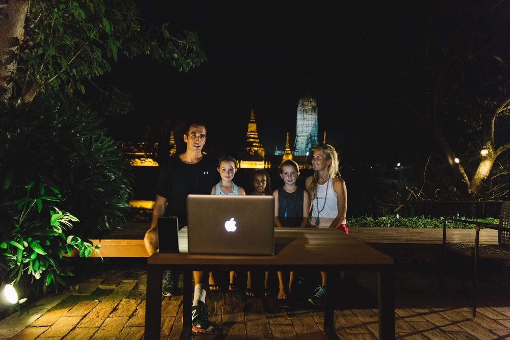 Checking in with our local TV station in Cincinnati (WKRC-12) via a Skype interview from Ayutthaya, Thailand. Not a bad backdrop, when you are fortunate to have 600 year old ruins light up the night. After an evening 2 hour guided bike ride to the ruins and temples, we were able to find a connection, and keep our family and friends up to date on our travels. This was a great day trip to escape the chaotic Bangkok streets, and enjoy mother nature and a piece of history.