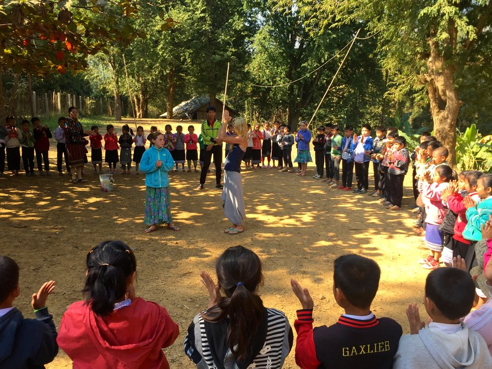 So fortunate to have the opportunity to lead this grade school in a yoga class during recess. Luang Prabang, Laos