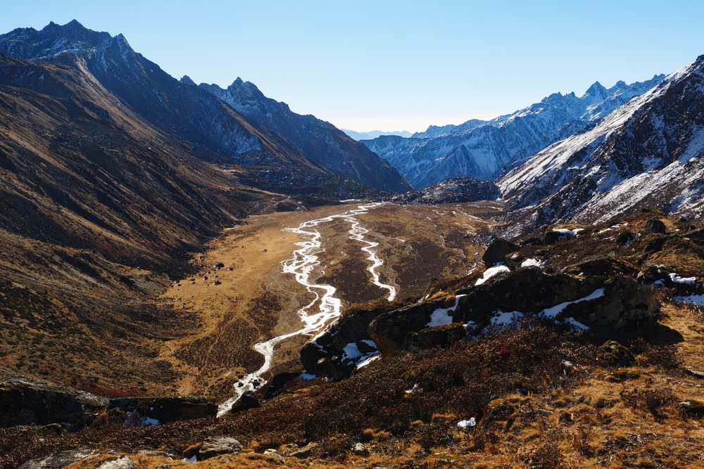 On the way to the Lumba Sumba pass - looking back down the valley towards Pass Camp