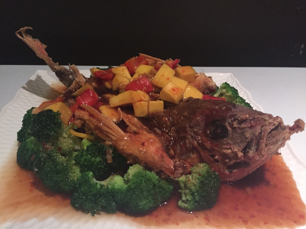 Fried Snapper in Mango Sauce