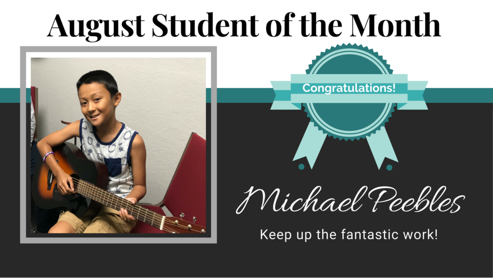 Guitar student of Kelvin Milliner, Michael Peebles has been with Cappella Music Academy since January of 2017. So far his favorite part of lessons with Kelvin has been learning how to form different chords and strumming patterns on guitar. His favorite color is blue and hot dogs are his favorite food! When asked what band he would join, he said he would join his favorite band, Imagine Dragons. His top three favorite songs are Believer by Imagine Dragons, Jingle Bells and the BayBlade Theme song. In Michael's free time, he enjoys continuing to learn music, writing his own songs and playing soccer.   Michael has been such a hard working musician at the academy, way to go Michael!