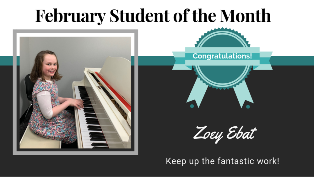 """Zoey Ebat has a wonderfully peppy personality and an eagerness to learn that makes her a teacher's dream. She practices diligently and asks engaging questions about the piano and I look forward to playing our piano duets every week!"" - Kristy Fox, Zoey's Piano Instructor  What has been your favorite thing you have learned here at Cappella?:  Everything! And the songs.   What is your favorite color?:  Pink   What is your favorite food?:  Ice cream and Chik-fil-A   If you could join any band, what band would you join?:  Choir   What are your top 3 favorite songs and who are they by?:  All of them! Top 3: Trust in Me by The Jungle Book, Better Together, and Silent Night.   What are some of your hobbies other than music?:  Reading American Girl books, art and drawing, cooking, show and tell videos, and learning all about rabbits."