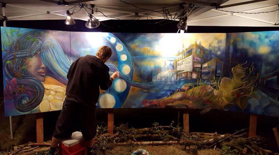 Human Nature Music Festival 2015 Live Painting Collaboration with with Kirsten Muir, Michelle Purvis and Kaitlyn McKenzie Nelson.