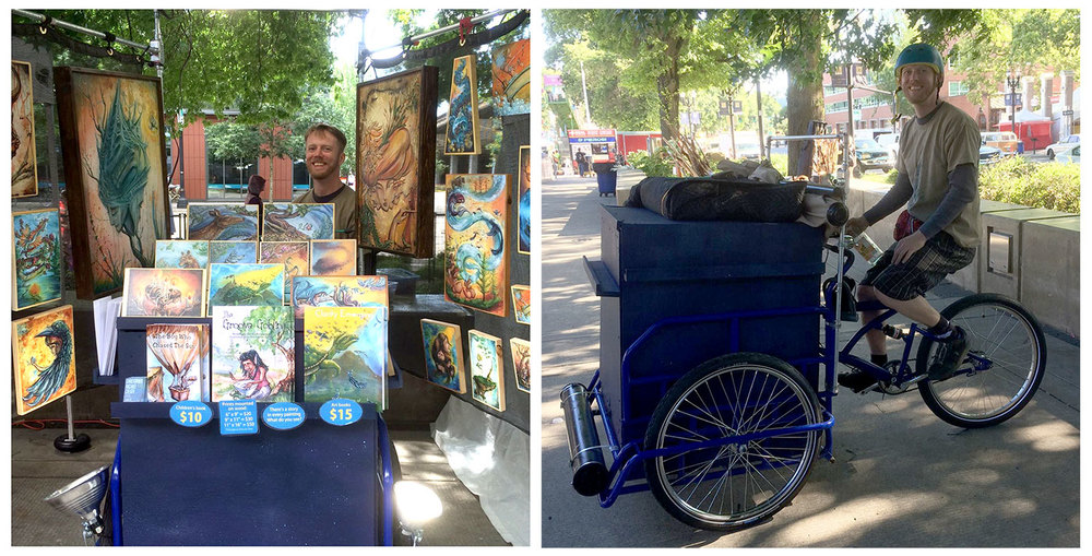 Mobile art gallery cargo trike at Portland Saturday Market