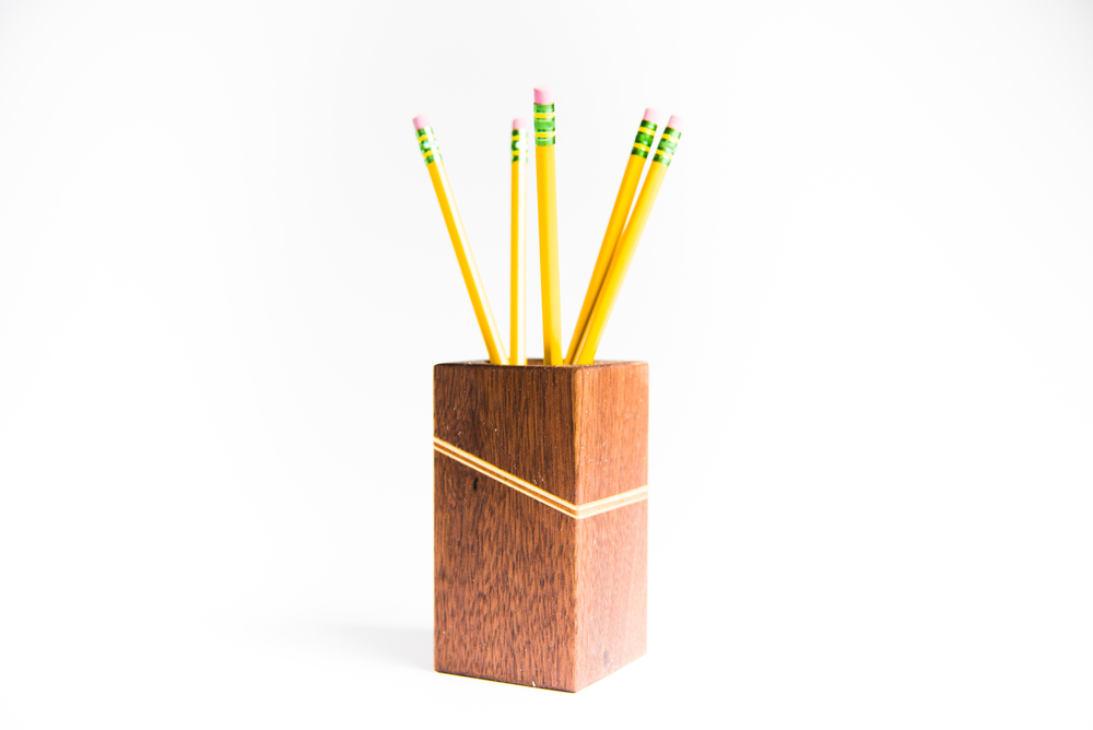 Modern Walnut Pencil Holder