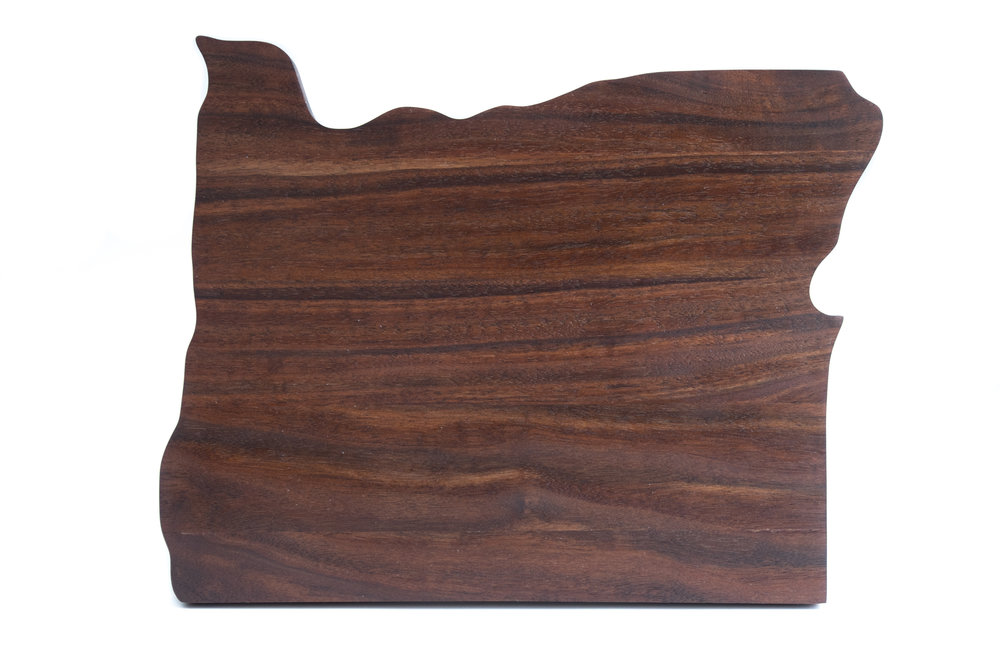Oregon shaped Claro walnut cutting board