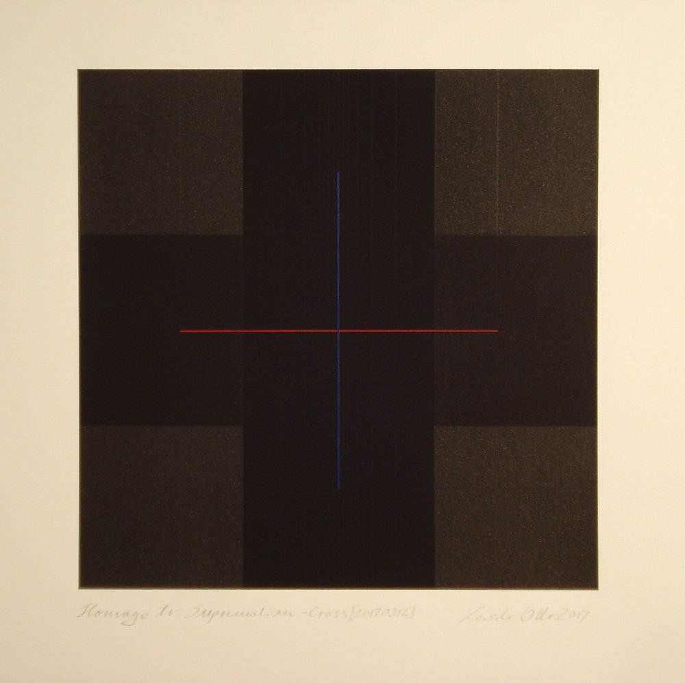 Homage to the Suprematism - Cross [20170312], 2017, pigment, acrylic on paper, 35.5x35cm_kB.jpg