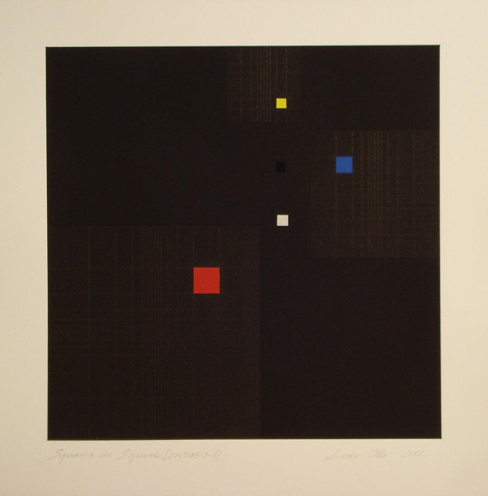 Squares in Square + Fibonacci-sequence [20170313-2], 2017, pigment, acrylic on paper, 35.5x35cm_kB.jpg