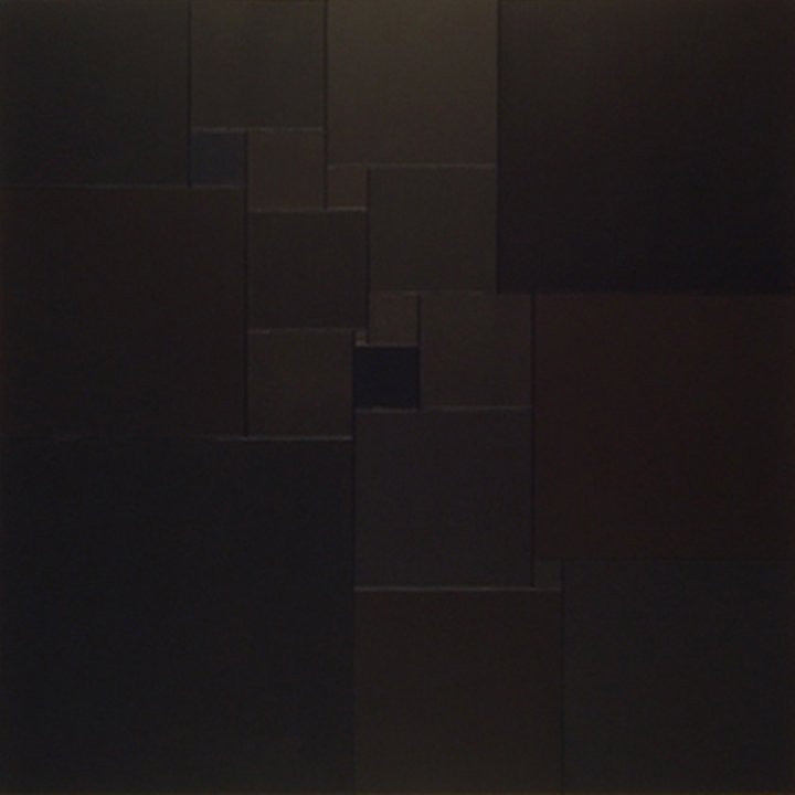 Homage to Malevich by 1+21 squares [20170503],2017,acrylic on canvas,17 3/4 x 15 3/4 in. [75x75cm]  [With 21 different black pigments.]