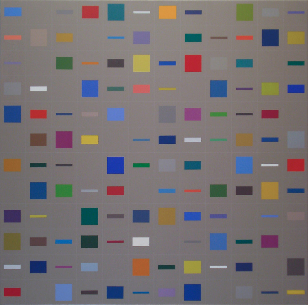 Elements-in-horizontal [20170402], 2017, acrylic on canvas, 90x90cm     6th PLACE: OTTO WITH THIS PAINTING   By the special jury: Laszlo Otto's painting has 6th place among the 80 [600] geometric-art artists' works.