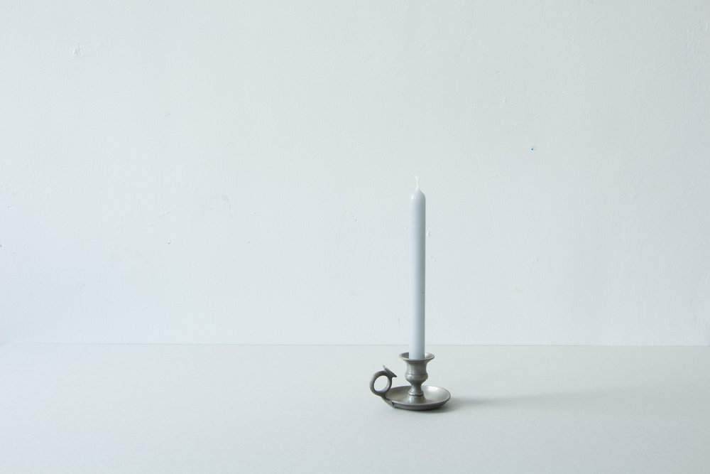 fiat lux - Candle and candle holder, 2017The unconsumed wax drops fallen from candles lit in Parisian churches are used to mold a candle that brings together remains of complaints, whishes and prayers.